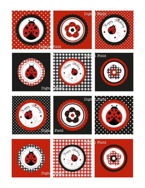 INSTANT DOWNLOAD Ladybug Cupcake Toppers or Party by digitalfield, $3.00
