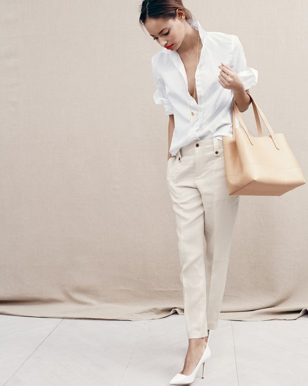 J.Crew women's linen garden pant in white or ecru, Thomas Mason® for J.Crew boy shirt, shape cluster pendant necklace and new uptown tote bag.