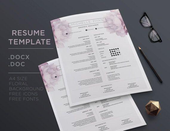 Elegante plantilla de CV carta y referencia carta por ChicTemplates