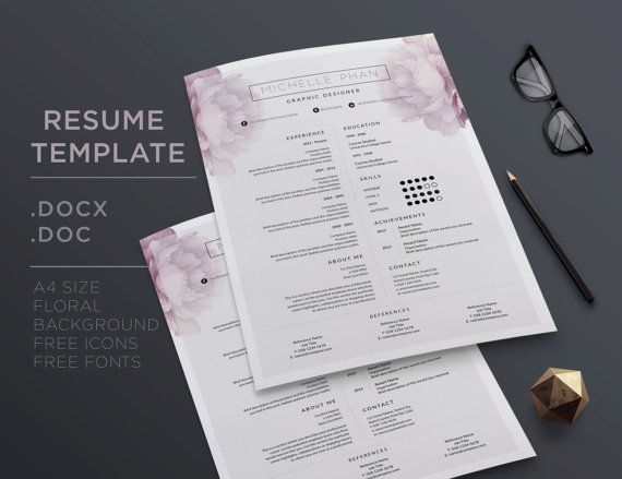 Elegant CV template  cover letter & reference by ChicTemplates