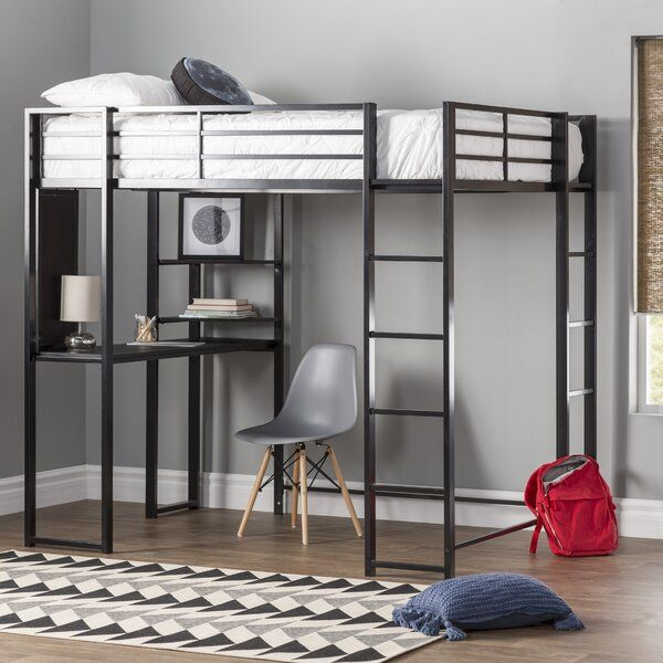 Aime Loft Bed With Bookcase Loft Bed Loft Bed Frame Twin Loft Bed