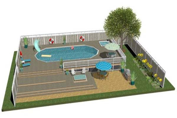 High quality free above ground pool deck plans for the for High quality above ground pools