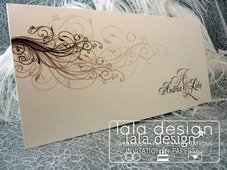 Black and grey flourish graphic wedding invitation