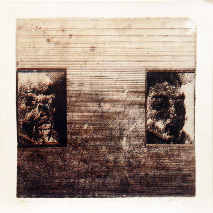 'Night Passage' aquatinta, mezotinta, stereoscopic 3D print, 1995