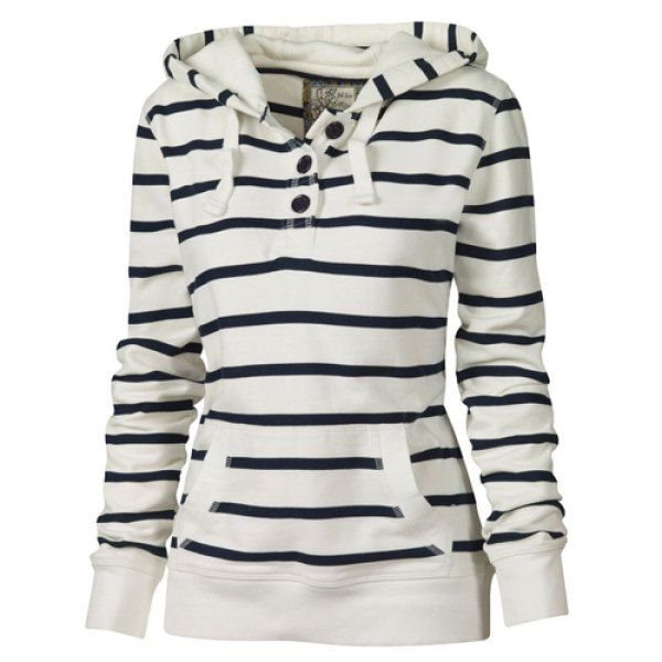 Wholesale Fashionable Long Sleeves Striped Hoodie For Women Only $5.58 Drop Shipping | TrendsGal.com
