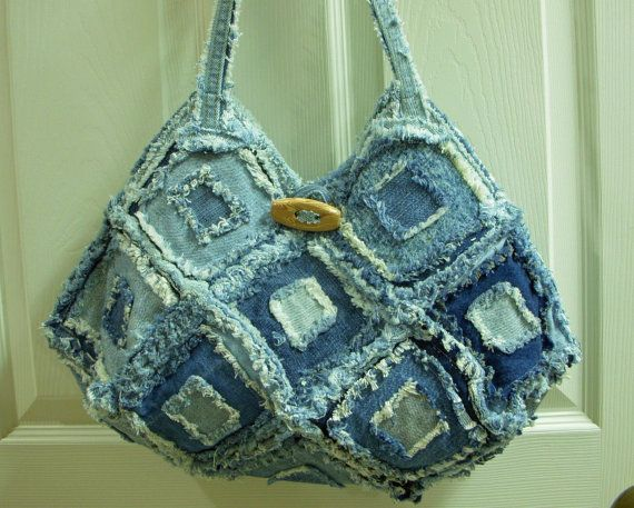 Large Square Recycled Blue Jean Denim Purse por ljeans en Etsy