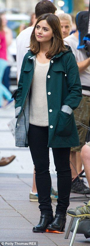 "Clara Oswald | Jenna Coleman | Doctor Who | filming ""Death in Heaven"" on Queen Street in Cardiff 17 July 2014"