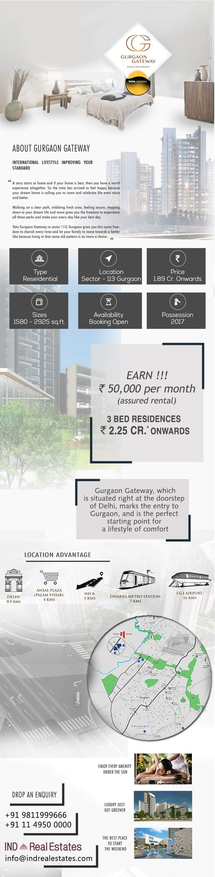#TataGurgaonGatewayGrandResidences located at Sector 112 & 113 Gurgaon offering 2 & 3 BHK Apartments with modern amenities for the comfort of residents at very attractive price point.