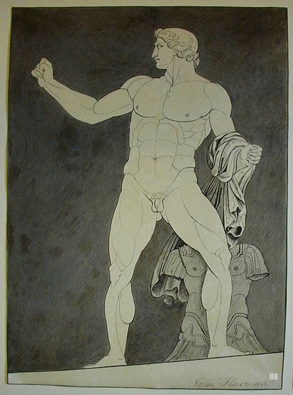 Classical Hero Achilles. 1788-94. John Flaxman. British. 1755-1826. pen and ink and wash. http://hadrian6.tumblr.com