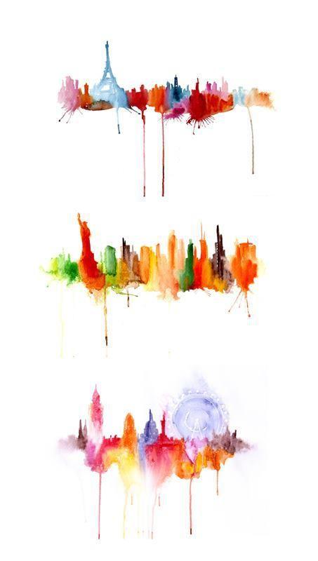 Watercolor Cityscapes by Elena Romanova: Paris, New York and London