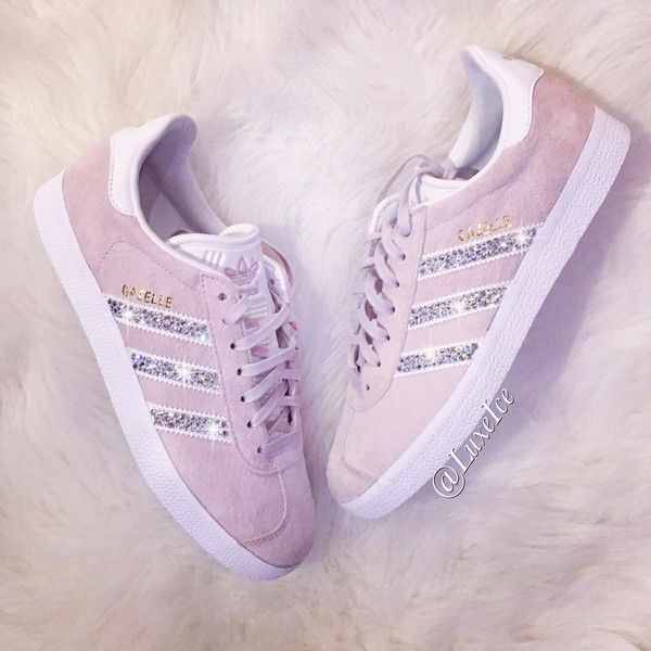 Adidas Original Gazelle Customized With Swarovski Xirius Rose Crystals... ($175) ❤ liked on Polyvore featuring shoes, silver, sneakers & athletic shoes, women's shoes, rosette shoes, metallic gold shoes, white shoes, polish shoes and shiny shoes