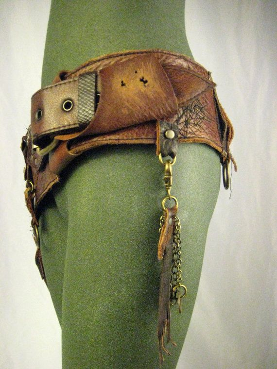 Leather hip bag festival burning man tank girl by Renegadeicon