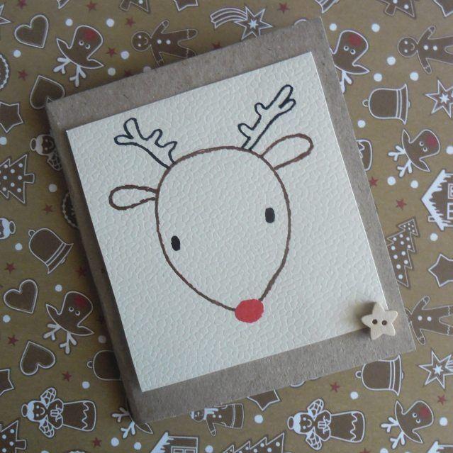 #kartka #renifer #card #christmascard #christmas #reindeer #rudolf #beige #handmade #rysunek #drawing #doodles #GawraStefana