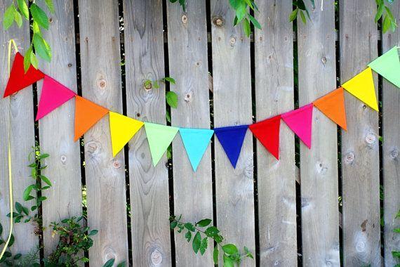 Regenbogen Geburtstag Banner - Filz Wimpel Banner - Rainbow Party Dekoration, $15.00