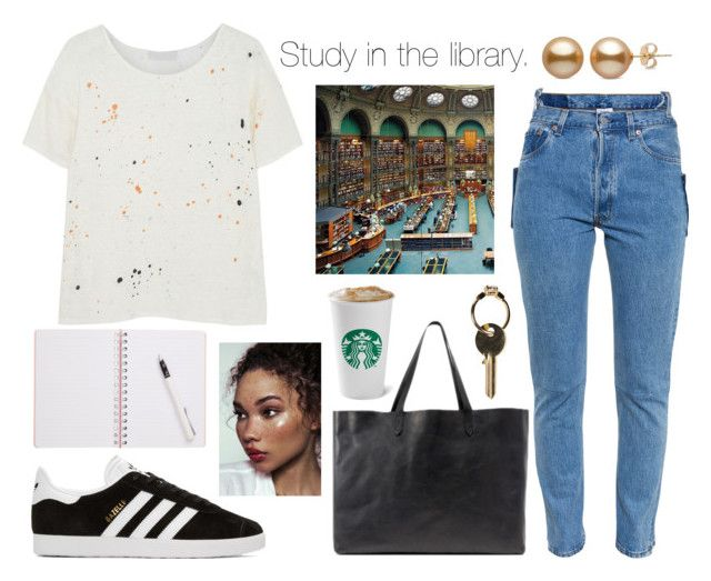 """""""Study in the library."""" by sunfayn on Polyvore featuring moda, Kain, Vetements, adidas Originals, Madewell e Maison Margiela"""