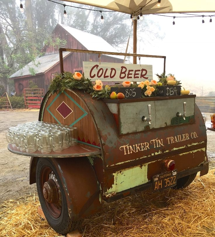 Our 1948 Barrel was a rare vintage camper trailer (only 3 known to exists)- that we converted into a rolling keg trailer! This trailer is perfect to for guests to serve themselves craft beer at any event!— Tinker Tin Trailer Co. vintage trailer rentals!