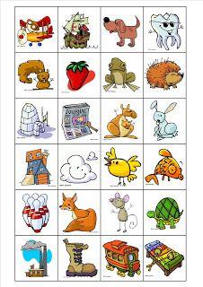«Je commence par…» est un jeu de bingo pour travailler la phonologie. Il faut imprimer les planches et les images, les couper et les plastifier. Les enfants choisissent un lettre sur leur planche et essaient de trouver une carte représentant un mot commençant par cette lettre. Les enfants jouent chacun leur tour et le premier à remplir sa planche a gagné.