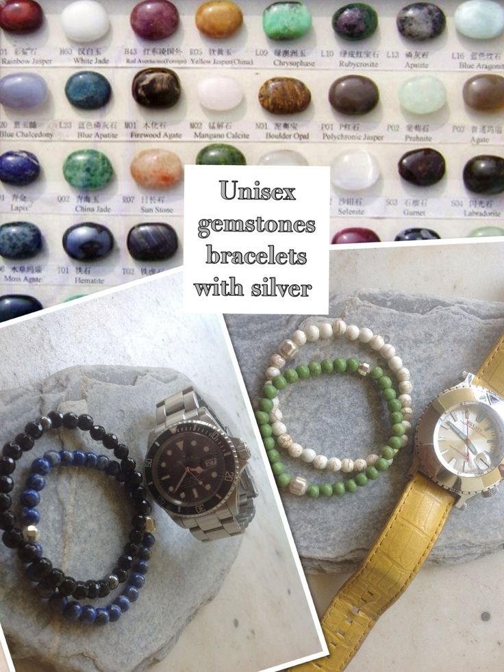Unisex bracelets with semiprecious gemstones & silver