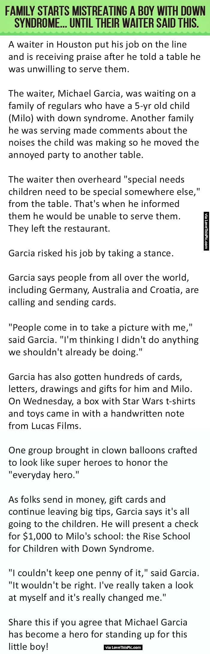 Family Starts Mistreating A Boy With Down Syndrome Until Their Waiter Said This. people amazing story interesting facts stories good people