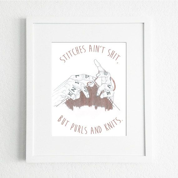 Art Print from Original Watercolour and Pencil Illustration by Katie Munro 'Stitches Ain't Shit' Wall Art, Home Decor by KatieMunroPrints on Etsy