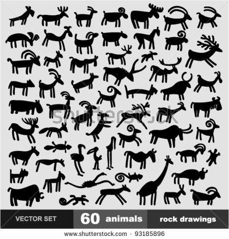 Vector SET - Animals (style petroglyphs) by mw2st, via ShutterStock