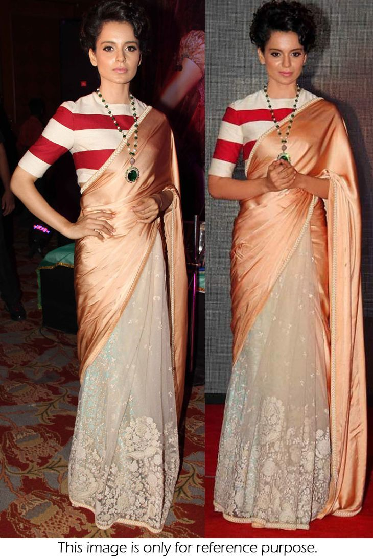 Bollywood Style Kangana Ranaut Moss And Net Saree In Peach And Off White Colour Nc205
