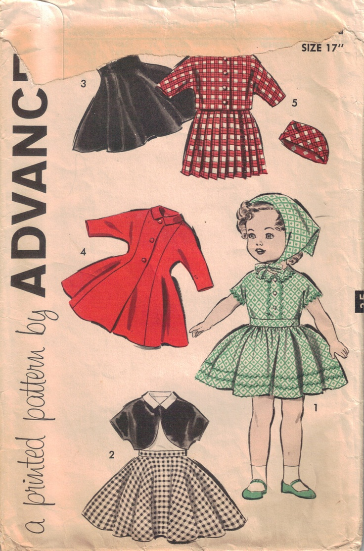 Doll's Wardrobe Pattern Vintage Doll Clothes Pattern Uncut Advance 9211 17 inch Doll Clothes. $12.00, via Etsy.