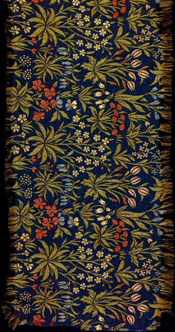"Millefleurs textile by William Morris, 1912-14. This design was based on Flemish millefleurs tapestries, 52.5 x 120 cm (21 x 48""). #morris #design"