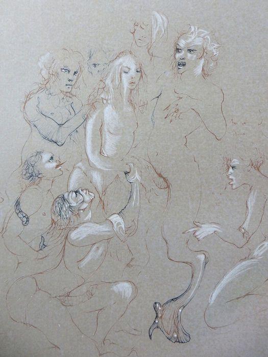 Leonore Fini- Composition  Leonore Fini (1908-1996) - Compositionets op papiernr 139/290 rechtsonder gesigneerd met Leonore FiniLeonore Fini groeide op in Triëst en verhuisde naar Parijs om daar te schilderen. Ze had een surrealistische stijl en de belangrijkste thema's in haar werk waren erotische fantasieën en de dood. Ze was een zeer veelzijdig kunstenares ze schilderde ontwierp decors en kostuums voor het theater etste en ze heeft ook een aantal boeken geschreven. Ze had veel…