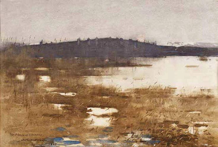Arthur Melville (1855 — 1904, UK. Scotland) The Stones of Stennis. 1885 watercolour. 14 x 21½ in.
