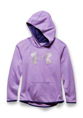 Under Armour Girls' Fleece Printed Big Logo Hoodie Girls 7-16 - Purple