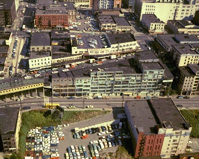 Aerial of Pike Place Market, 1970