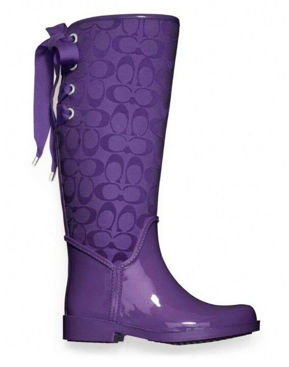 coach colored rain boots | Purple Coach boot. I would wear these all the time if it ever rained ...
