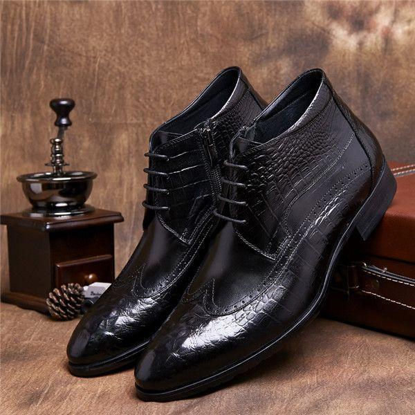 ed6402b13290c GRIMENTIN crocodile fashion Italian autumn luxury mens ankle leather boots  black casual dress shoes