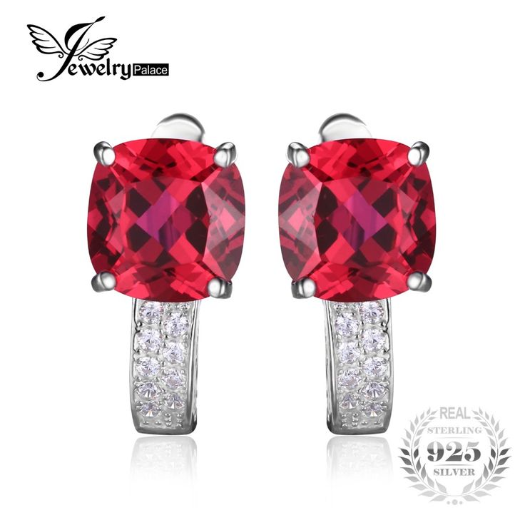 JewelryPalace Cushion 4.6ct Created Red Ruby Clip On Earrings 925 Sterling Silver Earring Fine Jewelry for Fashion Women