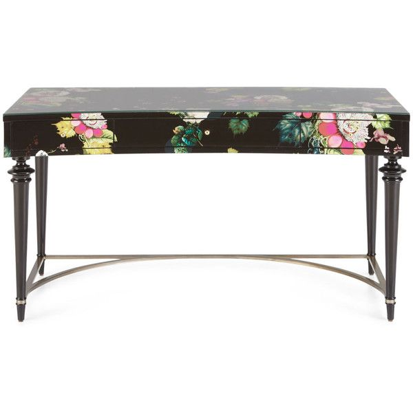 Cynthia Rowley for Hooker Furniture Fleur de Glee Writing Desk ($1,899) ❤ liked on Polyvore featuring home, furniture, desks, black writing table, black storage furniture, handcrafted furniture, fold down desk and black furniture