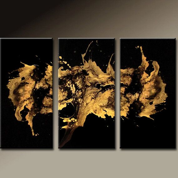 3PC Abstract Art Huge Custom Made 72x48 Metallic Gold Art on Canvas Ready to Hang Modern Contemporary Painting by Destiny Womack - dWo -