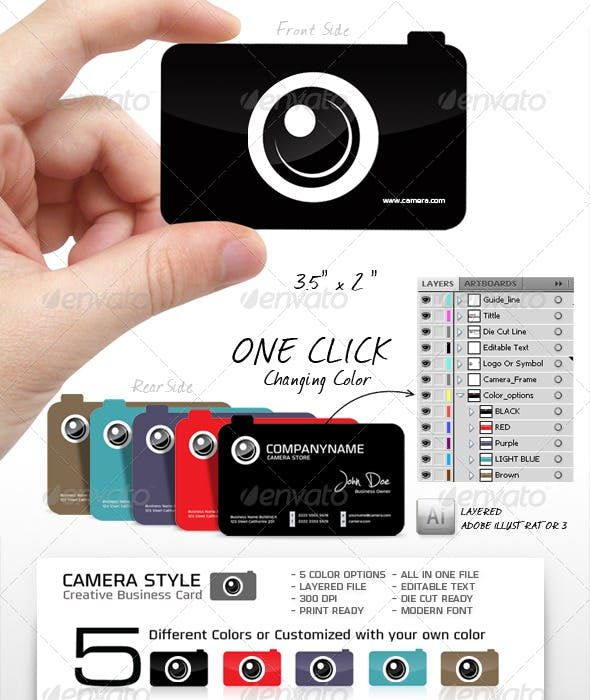 Camera Shape Unique And Creative Business Card Shaped Business Cards Business Cards Creative Business Card Design Photography