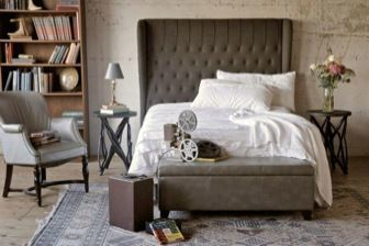Alice Queen Tufted Wing Fabric Headboard, Umber