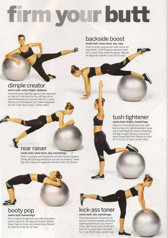 Stability ball I just love the stability ball it doesn't look like much of a work out but give it a try and then you'll see