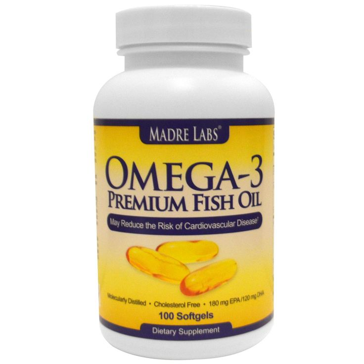 Madre Labs, Omega-3 Premium Fish Oil, 180 mg EPA/120 mg DHA, 100 Softgels - iHerb.com