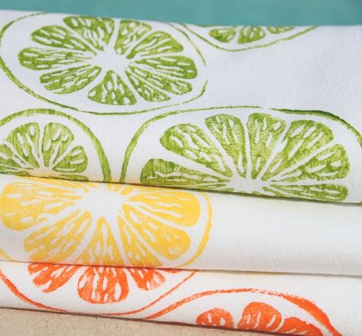 Citrus kitchen towels available at Viola's Market.