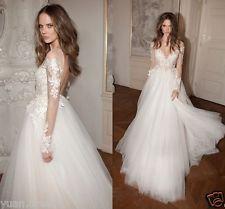 New Berta nášivky Čipkované svadobné šaty s dlhým rukávom Svadobné šaty Truhlář