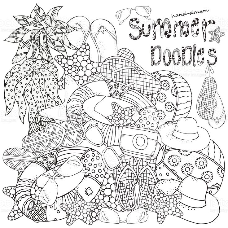 Starfish, lifebuoy, sunglasses, ball, flip-flops, hat, camera. royalty-free stock vector art