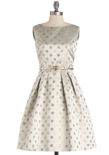 Sparkle Your Interest Dress - Prom, Woven, Mid-length, Silver, Polka Dots, Cutout, Belted, Special Occasion, Fit & Flare, Sleeveless, Better...
