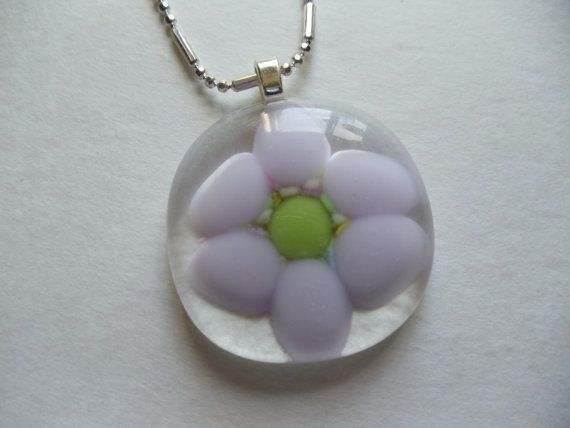 Glass fused Lilac Flower pendant by sherrylee16 on Etsy, $20.00: Glass Jewlery, Glass Kiln, Fused Glass, Glass Ideas, Glass Stuff