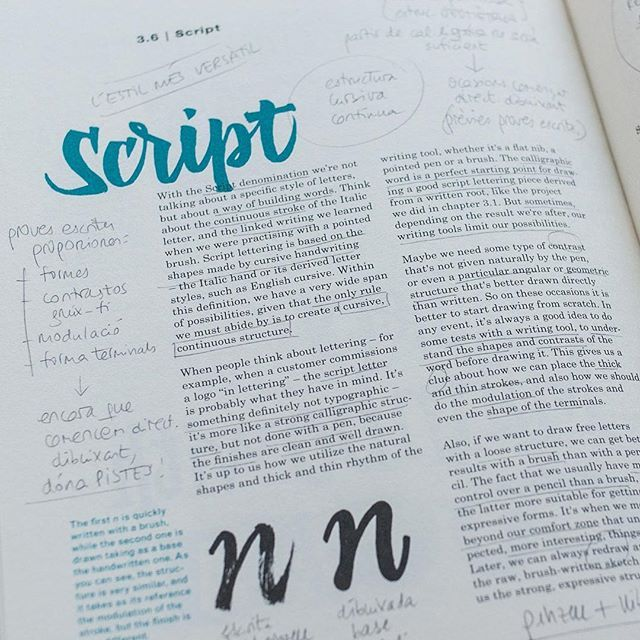 @ginaserret is one of my most diligent students ever. The other day I noticed that her copy of The ABC Custom Lettering is packed with notes and highlighted text. This is how this book is meant to be. Be like Gina and don't be afraid of writing on the book. Or even better, get two copies and save one clean! #theabcofcustomlettering #student #lettering #calligraphy #workbook #script