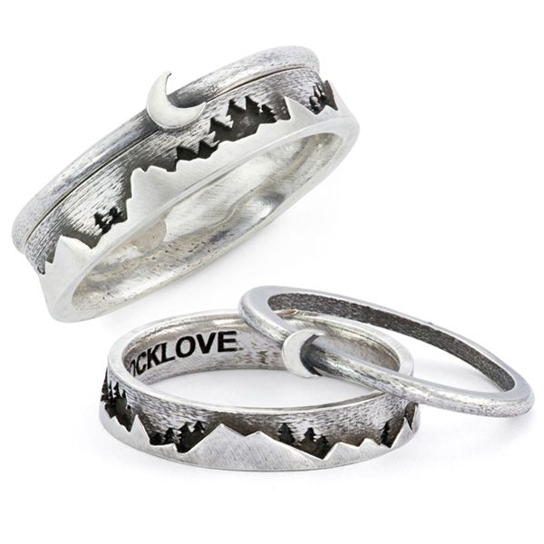Moon and Mountain Stackable Ring Set by RockLove