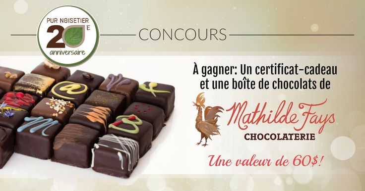 Courez la chance de gagner un certificat-cadeau et une boîte de chocolats fins de MATHILDE FAYS CHOCOLATERIE, d'une valeur totale de 60$! Un nouveau concours chaque jour jusqu'au 26 octobre.