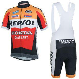 2014 REPSOL Honda Cycling Jersey Short Sleeve and Cycling bib Shorts Cycling Kits Strap